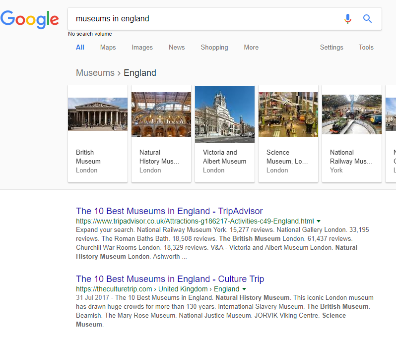Museums in England google search screenshot